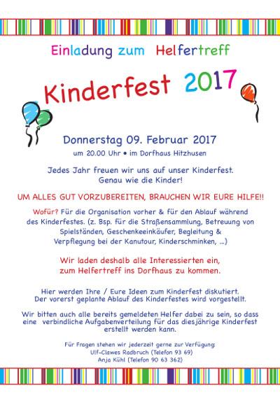 einladung zum helfertreffen für das kinderfest 2017, Einladungen
